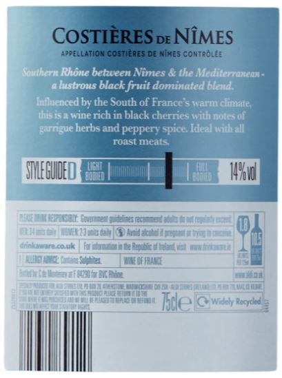Aldi Costiere Back Label